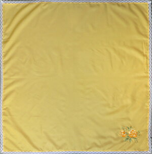 バラ刺繍入り無地ふろしき(イエロー)(75cm)商品画像