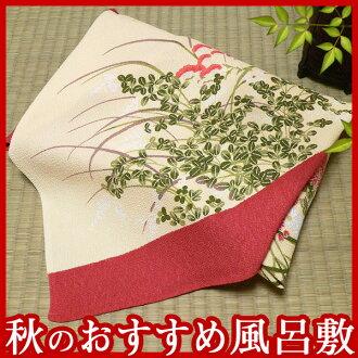 It is autumn flowers crape yuzen furoshiki (adzuki bean) (68cm) fs3gm made in Japan between furoshiki clouds