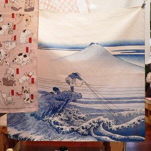 チーフ浮世絵甲州石斑沢(アイ)綿シャンタンふろしき(48cm)をタペストリーにしたイメージ
