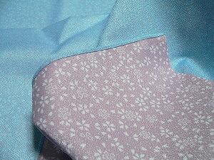 風呂敷大判45cmサイズリバーシブル鮫小紋桜両面染ポリエステルふろしきブルー/パープル商品拡大画像