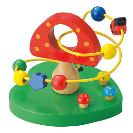【知育 木のおもちゃ 1才から】 ウッデントイ ビーズコースター きのこ 【木製玩具 子どものおもちゃ プレゼント ギフト 誕生日プレゼント 天然素材 天然木】【あす楽対応】