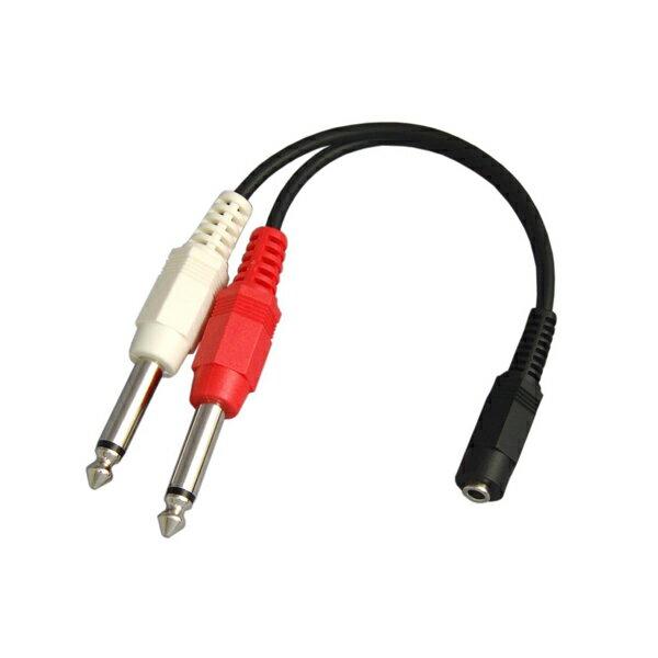 【R】3.5mmステレオミニジャック(メス) - 6.3mmモノラル標準プラグ(オス)×2 オーディオ変換ケーブル 10cm VM-MSA-10cm / VMMSA10cm