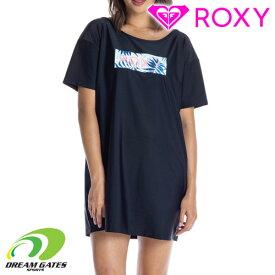 ROXY【LEAF WAVE ROXY TEE:BLK】ロキシー 半袖Tシャツ ラッシュガード 紫外線対策 ロングTシャツ ビックTシャツ オーバーサイズ [メール便対応可]