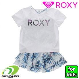 ROXY【MINI LEAF WAVE:WHT1】水着 三点セット 半袖Tシャツ ロキシー ジュニア キッズ 子供用