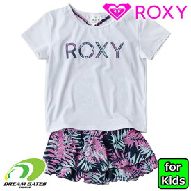 ROXY【MINI LEAF WAVE:WHT2】水着 三点セット 半袖Tシャツ ロキシー ジュニア キッズ 子供用 ガールズ