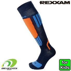 REXXAM【子供用 スキーソックス 3608:NAVY】SKI SOCKS Mico KIDS メリノウール配合のジュニアレーサー、キッズスキーヤーのためのスキーソックス レグザム レクザム スキー 日本のスキーブーツブランド「REXXAM」