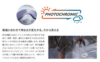 DICE【BANK】調光レンズ採用眼鏡対応モデルレンズが可動する事によりゴーグル内の曇り、メガネの曇りすら解消する画期的なスキースノボダイススノーボードゴーグルバンク