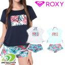 ROXY ロキシー 水着三点セット【HOLIDAY】上下セットラッシュTシャツ×ボタニカル柄ビキニ 3ピースセット