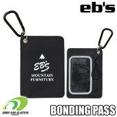 eb'sエビス【BONDHINGPASS:BLACK-PVC】超薄型の片面クリアポケットのボンディングパススキースノボスノーボードパスケースチケットホルダークリアポケットバゲッジタグ