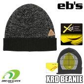 eb'sエビス【19/20・XRDBEANIE:MOKU-BK】衝撃に反応して硬化する特殊素材を縫いこんだ頭部保護のビーニースキースノボスノーボードプロテクタープロテクションポロンエックスアールディー採用