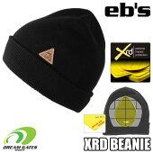 eb'sエビス【19/20・XRDBEANIE:BLACK】衝撃に反応して硬化する特殊素材を縫いこんだ頭部保護のビーニースキースノボスノーボードプロテクタープロテクションポロンエックスアールディー採用