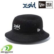 NEWERA【BUCKET01X-GIRLMILLSNE:BLACKWHITE】ニューエラエックスガールコラボアイテムXGIRLキャップ帽子ハットバケットハット