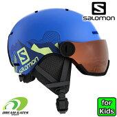 Salomon(サロモン)ヘルメット子供用【HELMETGROMVISOR:PopBLUE】L40539600サイズ調整可能、子供、ジュニア用バイザー付きスノーヘルメット