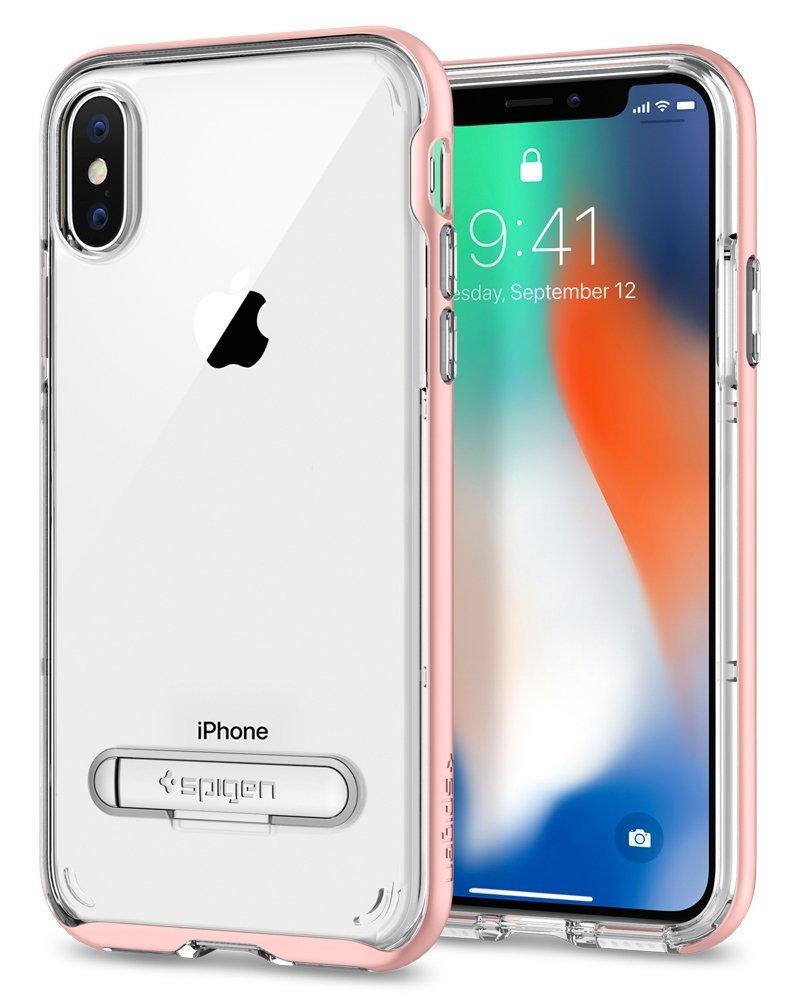 アイフォンx iphoneX iphone10 ケース spigen クリスタルハイブリッド ローズゴールド Spigen Crystal Hybrid Rose Gold 057CS22146 /在庫あり/ アイフォン10 Qi 充電 キックスタンド カバー シュピゲン 【スマートフォンケース フューチャモバイル】おしゃれ