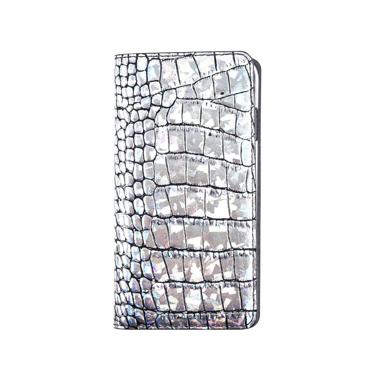 アイフォンx iphoneX ケース GAZE Hologram Croco Diary シルバー 手帳型 GZ10219i8 /在庫あり/クロコダイル型押し 本革 送料無料 スマホケース アイフォーンx カバー【スマホ・タブレットのアクセサリー専門店 スマートフォンケース フューチャモバイル】おしゃれ