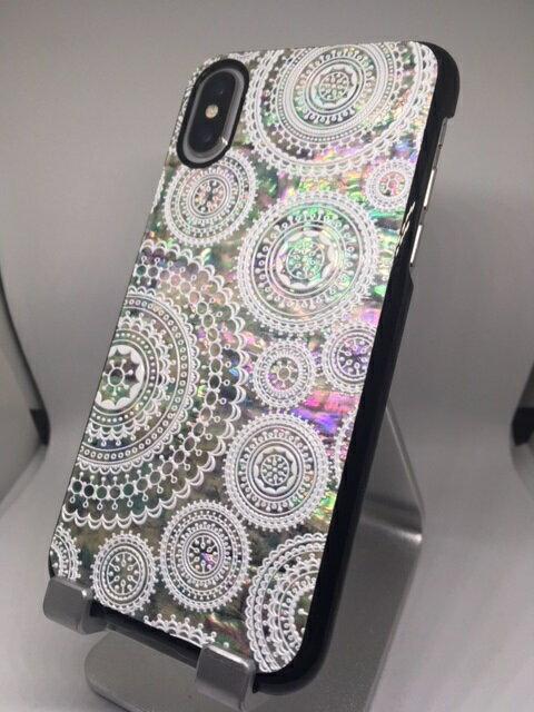 アイフォン10 iphone10 iPhoneX 天然貝 ケース ホワイトレース 黒カバー 螺鈿 らでんアート iP10-001-bk /在庫有り/ ハンドメイド 貝殻【スマホ・タブレットのアクセサリー専門店 スマートフォンケース スマホケース フューチャモバイル】おしゃれ