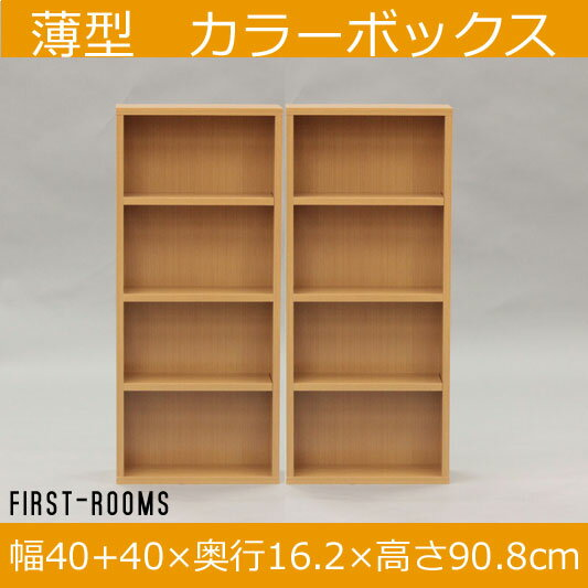 薄型 カラーボックス 2個セット 移動棚板付 幅40 奥行き16.2 高さ90.8cm ナチュラル(ビーチ柄)