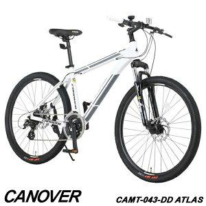 【1年保証付】マウンテンバイク 自転車 26インチ ブロックタイヤ アルミフレーム 24段変速 ディスクブレーキ ロングリーチサスペンション CANOVER カノーバー CAMT-043-DD ATLAS【組立必要品】