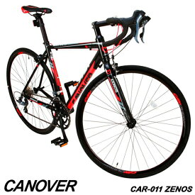 【1年保証付】ロードバイク 自転車 700c デュアルコントロールレバー 16段変速 軽量 アルミ ライト付 CANOVER カノーバー CAR-011 ZENOS【組立必要品】
