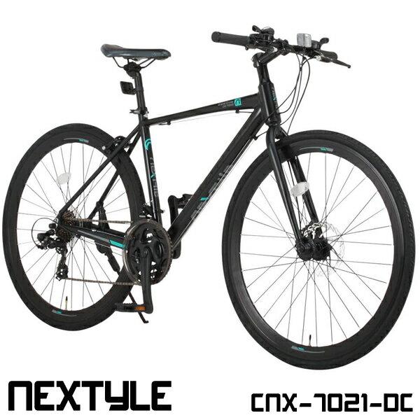 クロスバイク 700c 自転車 シマノ21段変速 軽量 アルミフレーム フロントディスクブレーキ NEXTYLE ネクスタイル CNX-7021-DC【組立必要品】