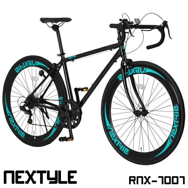 ロードバイク 自転車 700c 軽量 アルミフレーム シマノ7段変速 デュアルピポットブレーキ ロードレーサー スタンド付 NEXTYLE ネクスタイル RNX-7007【組立必要品】