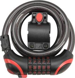 自転車用アクセサリー 自転車用パーツ カギ ワイヤーロック錠 ダイヤル式 LEDライト付 CANL-001