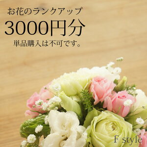 おまかせアレンジメント・花束用お花のご予算を3000円分ランクアップにてご利用いただけます。単品ではご利用いただけません。季節のお任せアレンジメント・花束、御供アレンジメント・花束以外の商品はご利用不可です。