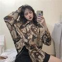 【送料無料】【二色展開】 韓国 ストリートファッション 総柄 アロハシャツ ビッグシルエット 長袖シャツ