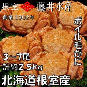 【ふるさと納税】[北海道根室産]ボイル毛がに3〜7尾(計約2.5kg) D-42053