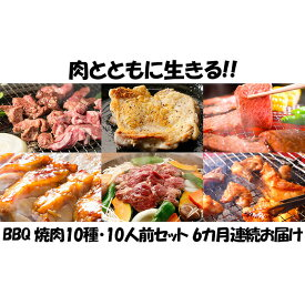 【ふるさと納税】【6カ月連続】肉祭り開催!BBQセット 〜焼肉10種 10人前コース〜 【定期便・お肉・牛肉・焼肉・バーベキュー・肉の加工品】