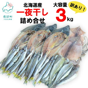 【ふるさと納税】北海道産 訳あり 一夜干し詰め合わせセット (大容量3kg ※4〜5種) 冷凍 ほっけ 真いか 宗八かれい こまい かます 他