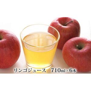 【ふるさと納税】峠のふもと紅果園の完熟!リンゴジュース710ml×6本セット 【飲料類・果汁飲料・りんご・ジュース】