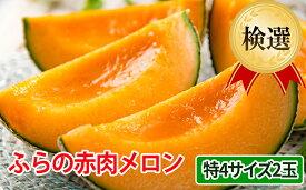 【ふるさと納税】ふらの赤肉メロン【検選】特4サイズ2玉セット 【果物類・フルーツ・くだもの・北海道産】 お届け:2019年7月上旬〜8月中旬まで