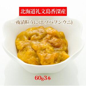 【ふるさと納税】北海道礼文島香深産 一夜漬粒うに(エゾバフンウニ)60g3本 【魚貝類・ウニ・雲丹・魚貝類・加工食品】