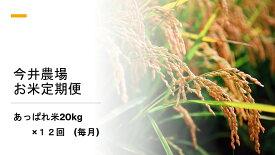【ふるさと納税】【定期便】今井農場 あっぱれ米20kg×12回(毎月)