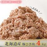 【ふるさと納税】肉屋のプロ厳選!北海道産豚ひき肉4kg盛り!(500g×8パック)[A1-9]
