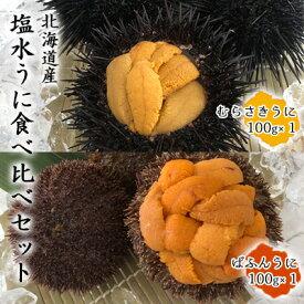 【ふるさと納税】北海道産塩水うに食べ比べセット(ばふんうに・むらさきうに各100g) 【魚貝類・ウニ・バフンウニ・ムラサキウニ・雲丹・塩水】 お届け:2021年6月1日〜8月31日まで