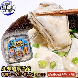 【ふるさと納税】北海道厚岸産 牡蠣むいちゃいました!(生食用)500g×1 【魚貝類・生牡蠣・かき・カキ・送料無料・新鮮・濃厚】