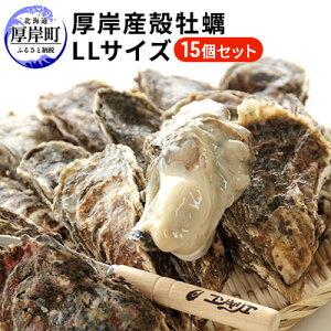 【ふるさと納税】厚岸産殻牡蠣LLサイズ15個セット 【魚介類・カキ・かき・シーフード】