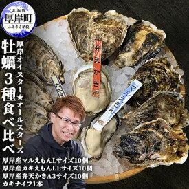 【ふるさと納税】【11月中旬頃から配送】厚岸オイスター★オールスターズ 牡蠣3種食べ比べ 【魚介類・カキ・かき・シーフード・牡蠣・食べ比べ】 お届け:2021年11月中旬頃〜2022年6月末頃