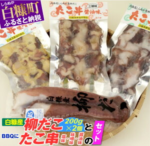 【ふるさと納税】「白糠産柳だこ」とBBQに「たこ串(塩味・味噌味・醤油味)」のセット