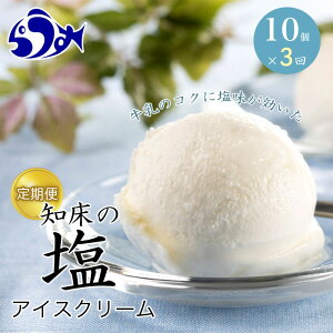 【ふるさと納税】年3回!北海道 知床羅臼(らうす)の塩アイスクリーム定期便 F21M-552