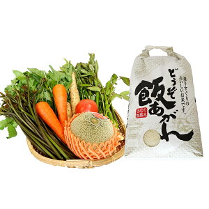 【ふるさと納税】津軽のお米5kgと旬の野菜果物セット(3〜7品程度) 【お米・果物類・フルーツ・詰合せ・野菜】