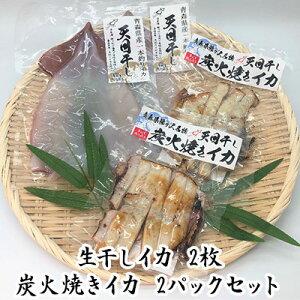 【ふるさと納税】青森県鰺ヶ沢町 生干しイカ 2枚、炭火焼きイカ 2パックセット ※お申込みから3ヶ月以内の発送になります。 青森 イカ いか 国産 魚介 【魚貝類・イカ・魚貝類・イカ・