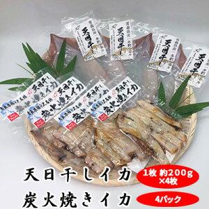 【ふるさと納税】青森県鰺ヶ沢町 生干しイカ 4枚、炭火焼きイカ 4パックセット ※お申込みから3ヶ月以内の発送になります。 青森 イカ いか 国産 魚介 【イカ・魚貝類・加工食品・惣菜