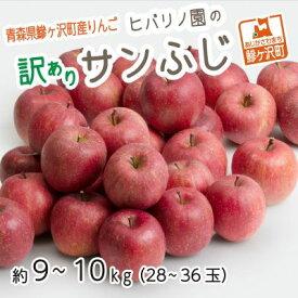 【ふるさと納税】【訳アリ】青森県鰺ヶ沢産りんご ヒバリノ園のサンふじ 約9〜10kg(28〜36玉) 【果物類・林檎・りんご・リンゴ】 お届け:2020年11月10日〜2021年1月10日