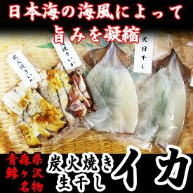 【ふるさと納税】青森県鰺ヶ沢町 生干しイカ、炭火焼きイカセット ※お申込みから3ヶ月以内の発送になります。