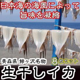 【ふるさと納税】青森県鰺ヶ沢町 生干しイカ 8枚セット ※お申込みから3ヶ月以内の発送になります。青森 イカ いか 国産 魚介