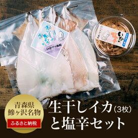 【ふるさと納税】青森県鰺ヶ沢町 生干しイカ(3枚組)と塩辛セット