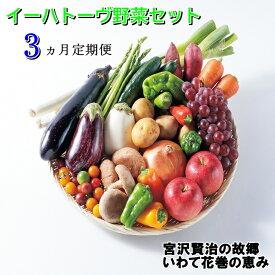 【ふるさと納税】《定期便3ヶ月》イーハトーヴ野菜セット お楽しみ 詰め合わせ 3回(7〜10品)旬 野菜 冷蔵